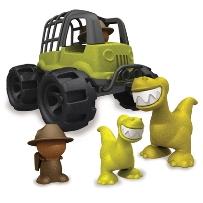Leksaker av återvunnen plast - jeep och dinosaurier