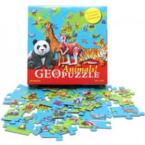 Geopussel världens djur, ett pedagogiskt pussel