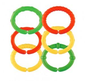 Babyleksak i form av ringar som bildar en kedja
