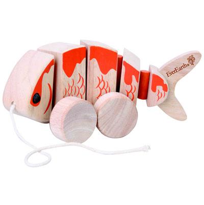 Dragleksak för barn i form av en fisk