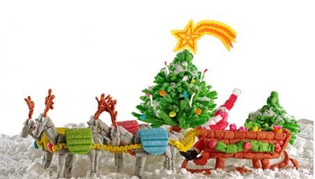 Jultomte med släde gjord av pyssel, Happy Mais