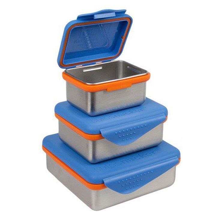 Tre blå matlådor för barn