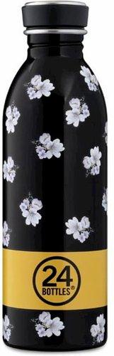 Svart vatteflaska av rostfritt stål med vita blommor