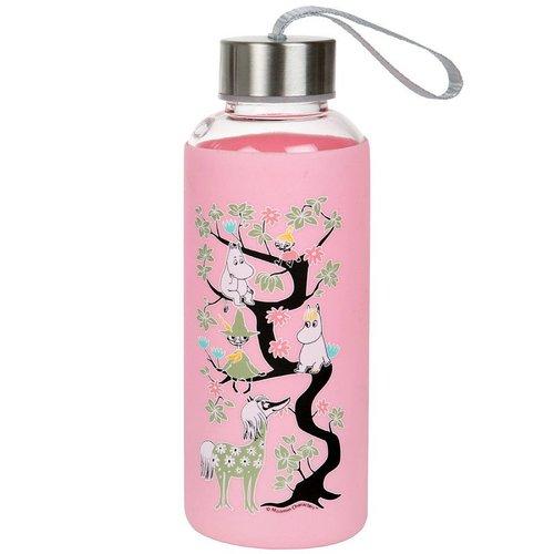 Rosa vattenflaska av glas med Mumintrollet