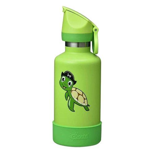 Grön vattenflaska för barn med sköldpadda på