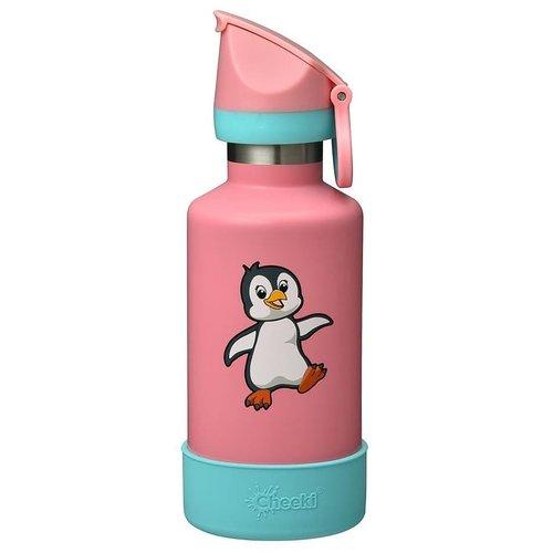 Vattenflaska för barn - rosa med pingvin