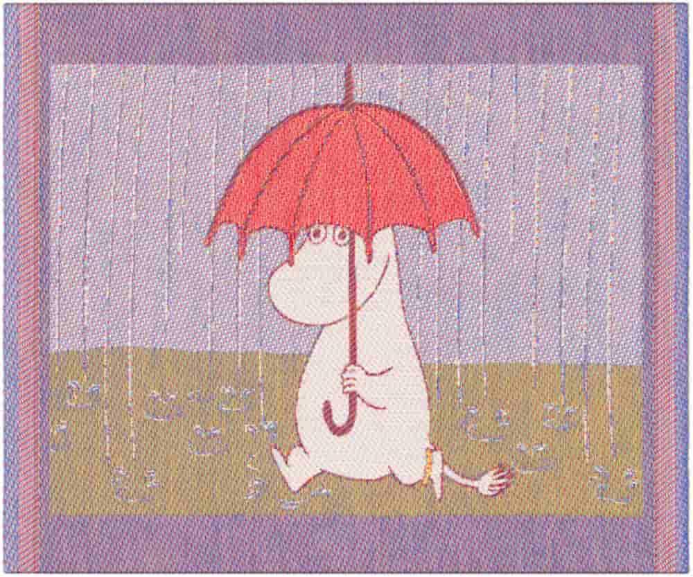 Disktrasa med Mumintrollet under paraply